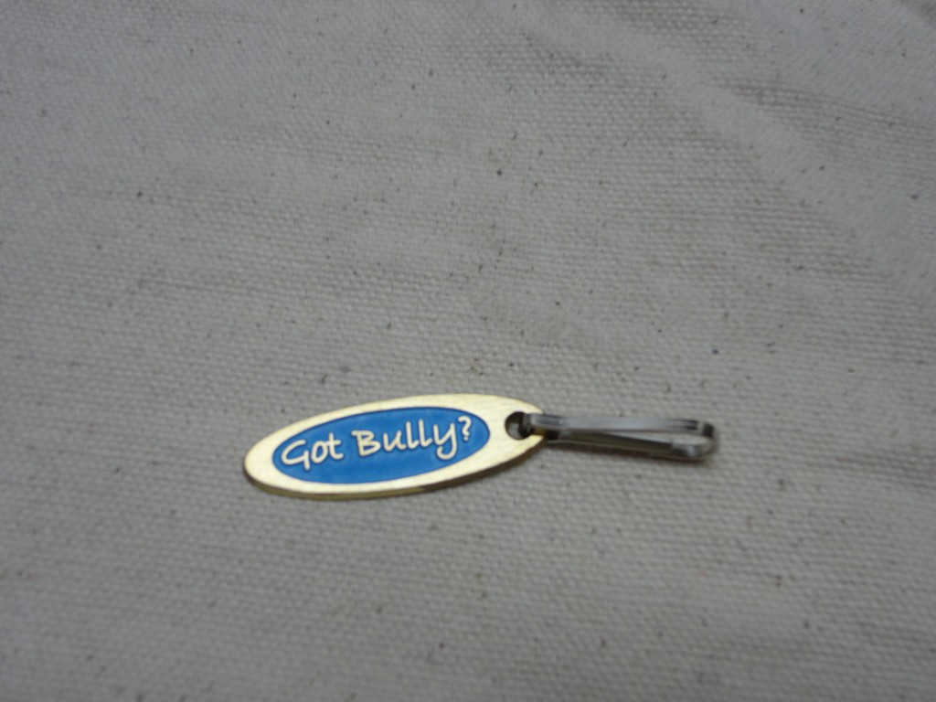 "Pit bull Jewelry ""Got Bully?"" Brass Zipper pull with Blue enamel"